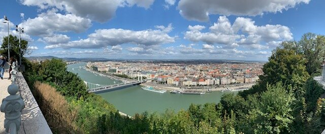 Overlooking Budapest and the Danube River from the Liberty Tower on Gellert Hill
