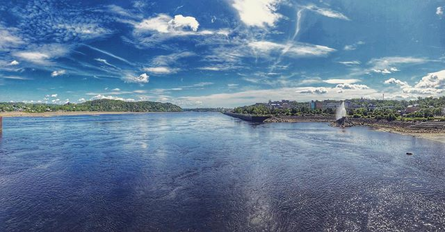 Chicoutimi, Quebec...the water is really that color. Glacial fjord.