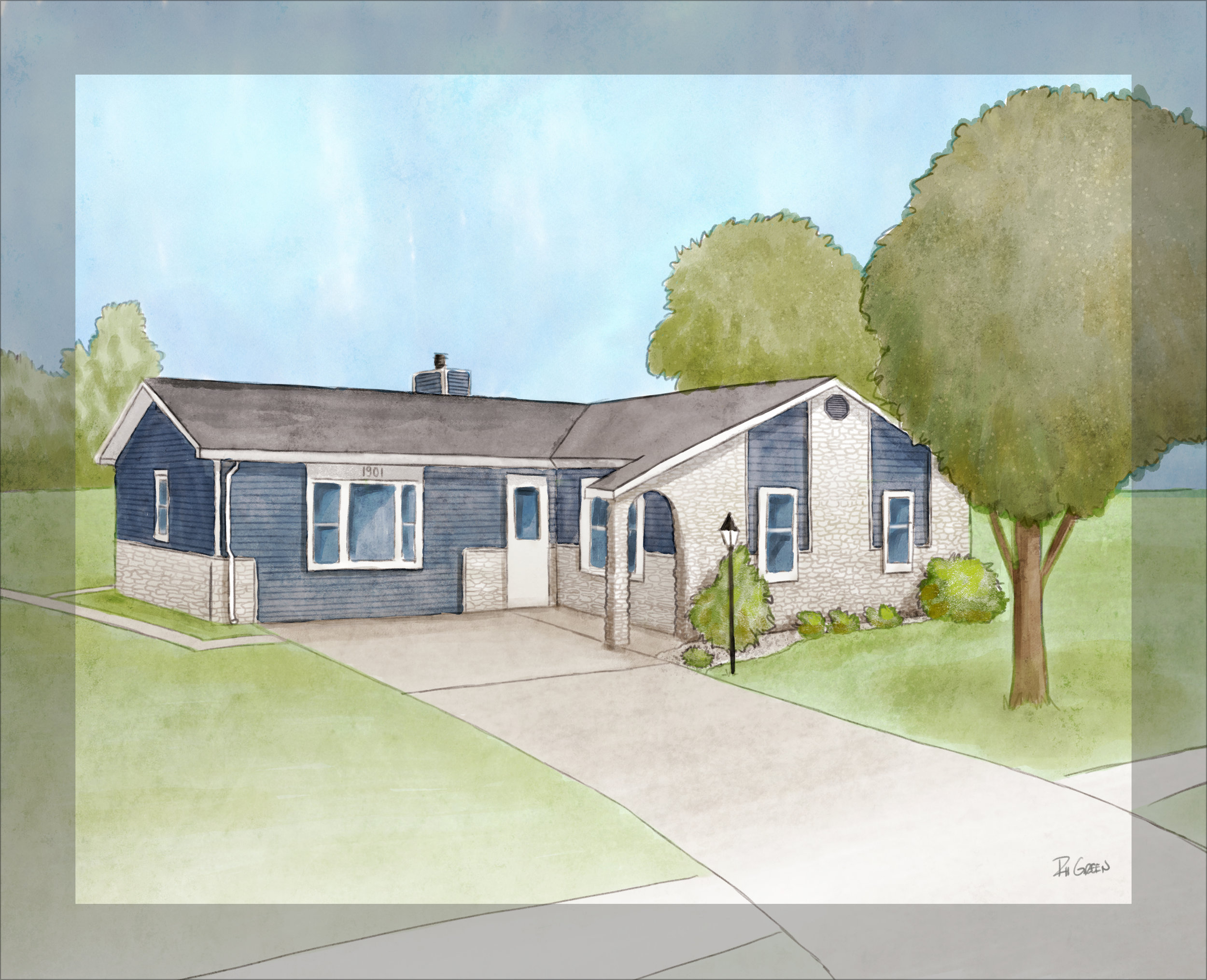 Full color rendering of home, includes modifications made to sketch based on clients feedback