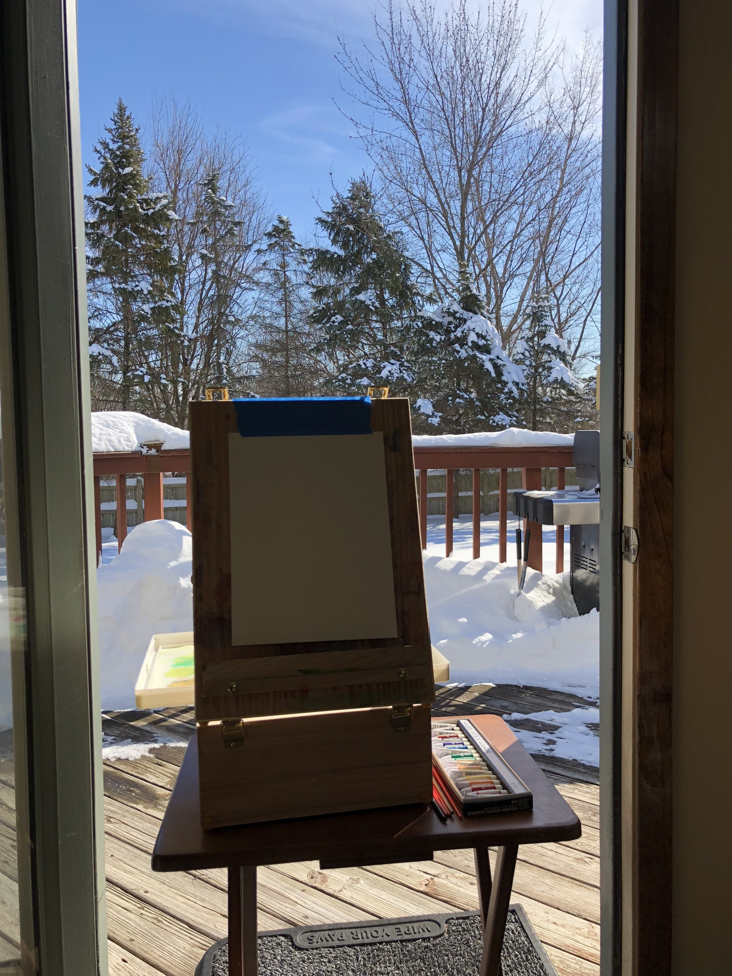 Winter Plein Air Door Setup
