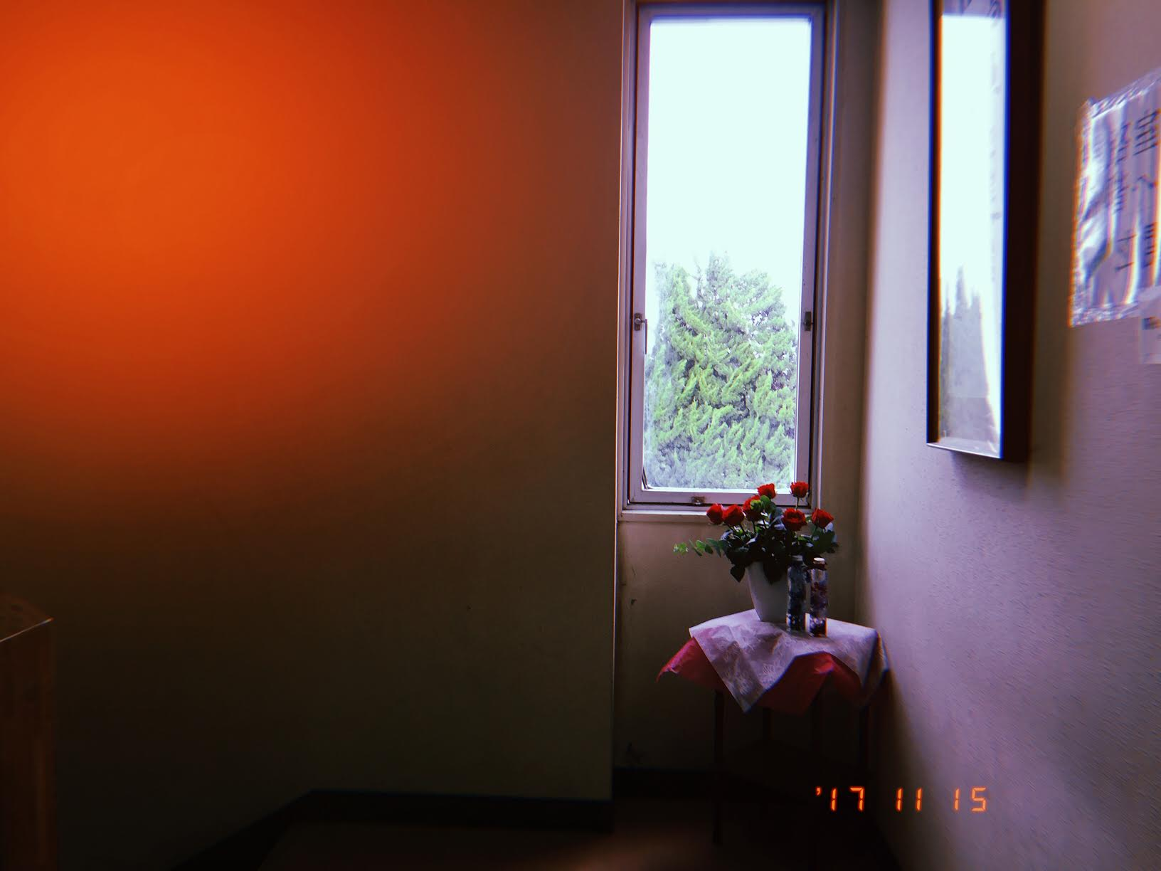 The teacher in charge of the 生花 (flower arranging) club at school always leaves beautiful flowers in the corners of the stair landings.