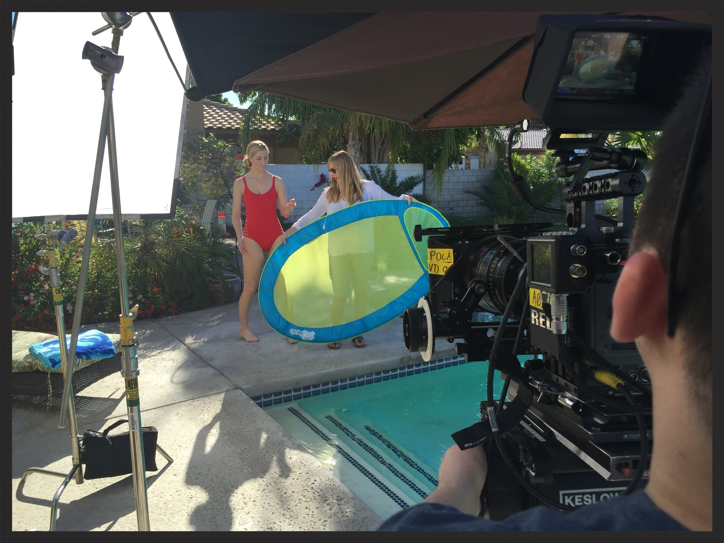 Behind the scenes of the Swimways Springfloat commercial.