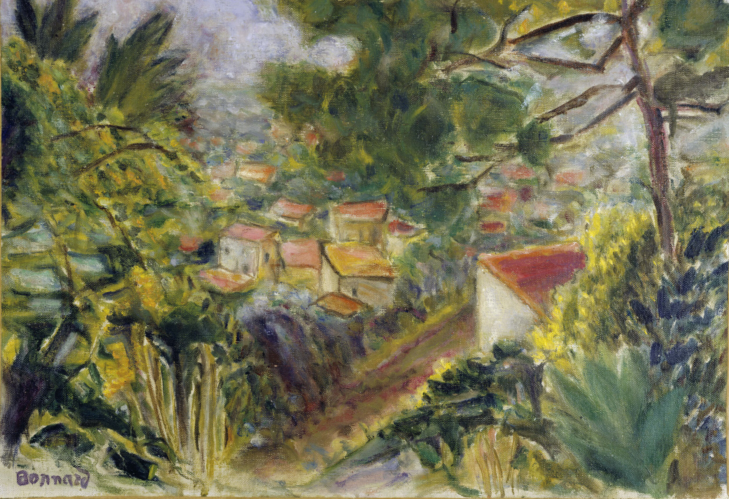 PIERRE BONNARD  Le Cannet , 1941  Oil on canvas  14 1/8 x 20 1/2 inches (36 x 52 cm) Signed lower left