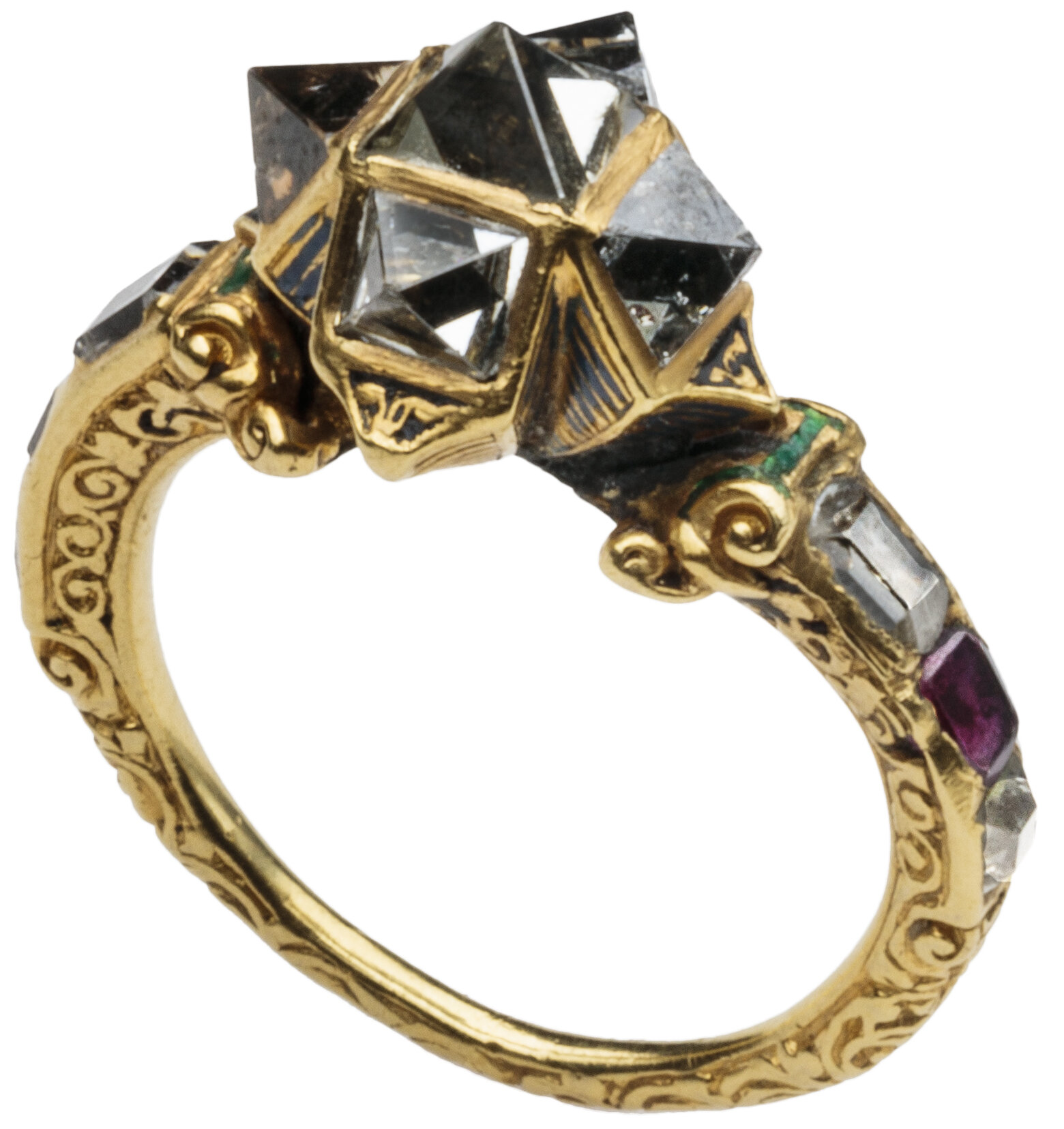 The Spitzer Renaissance Diamond, Ruby and Enamel Ring Italy, (Venice?), 16th century  Gold ring, the hoop chased with scrolls terminating at projecting shoulders each set with a ruby between two table cut diamonds supporting the high bezel composed of five point cut diamonds arranged like a star, the backs decorated with a black linear pattern, simulating reeding.