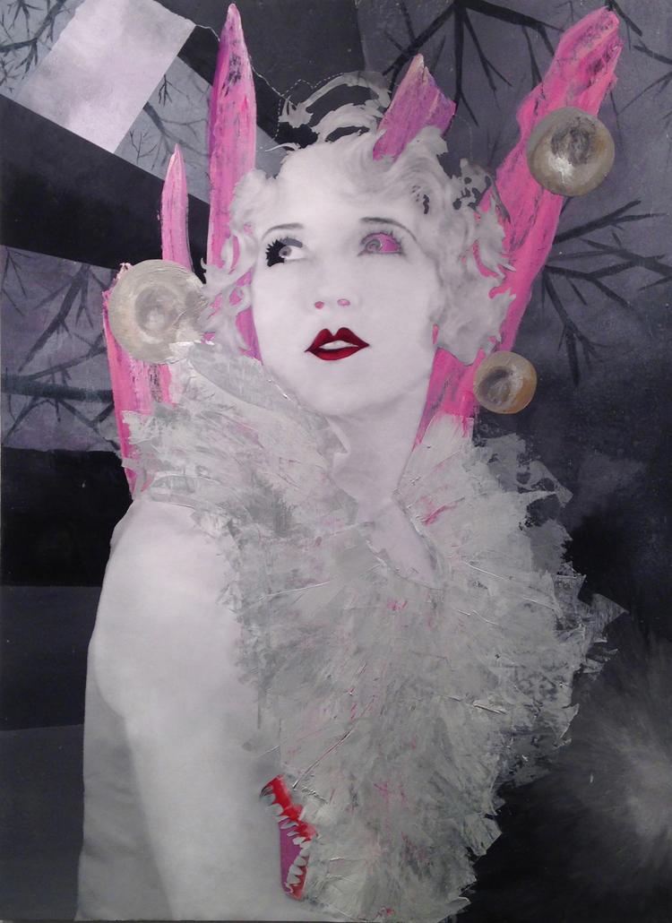"Margaret  Acrylic and collage on wood panel  61x45""  $1100"