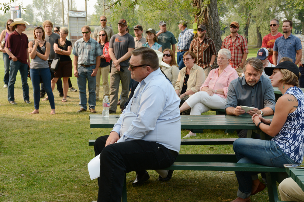 Sen. Jon Tester listens to ranchers and sportsmen advocate for the Land and Water Conservation Fund at a Missoula rally on Monday. Photo by Laura Lundquist