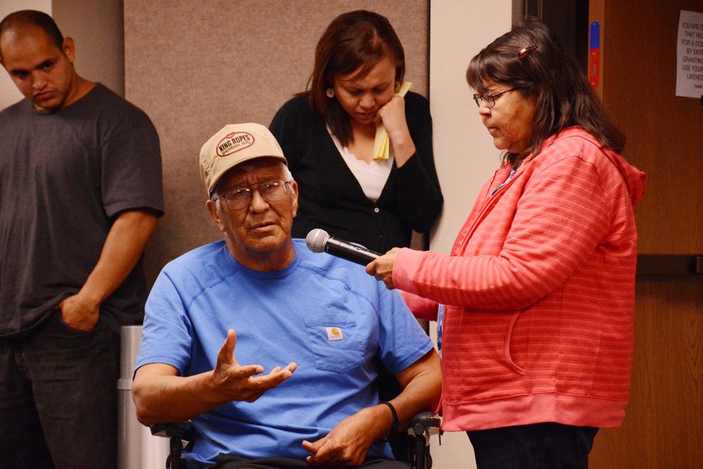 Elder Ben Boss Calf Ribs speaks Wednesday in Choteau of the Blackfeet people's spiritual need for the Badger-Two Medicine area.