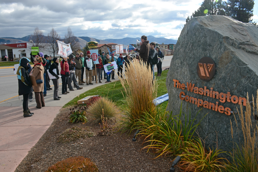 Coal protesters rally in front of the Washington Corporation's Montana Rail Link building in Missoula on Monday as part of the Flood the System strategy. Photo by Laura Lundquist