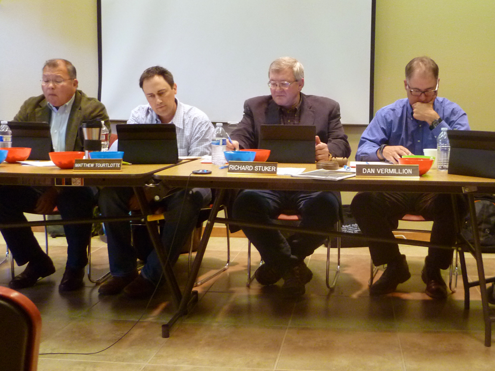 (L-R) Commissioners Larry Wetsit, Matthew Tourtlotte, Richard Stucker and Dan Vermillion go over season setting rules in 2014.