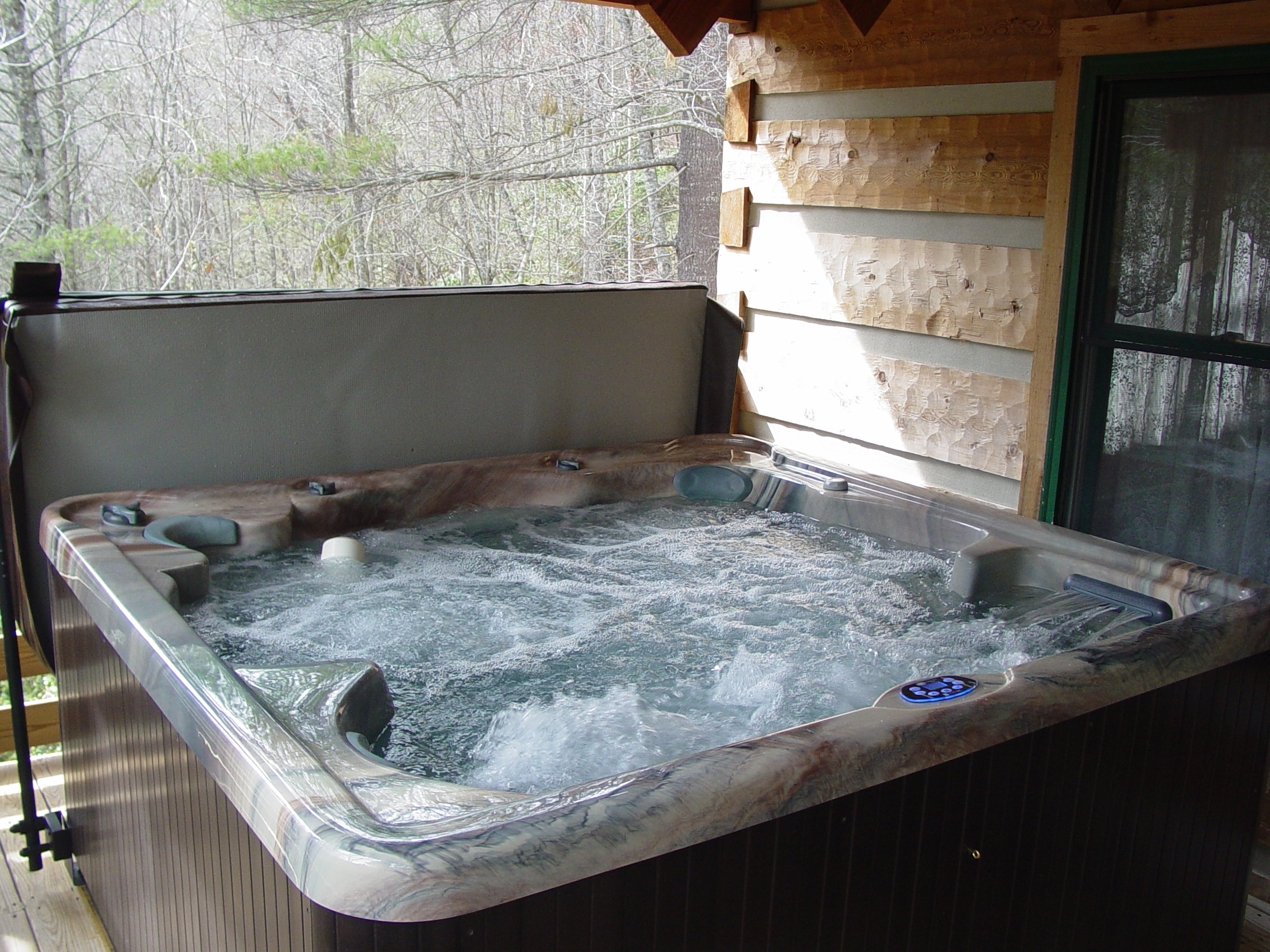 Private Hot Tub on Log Cabin Porch