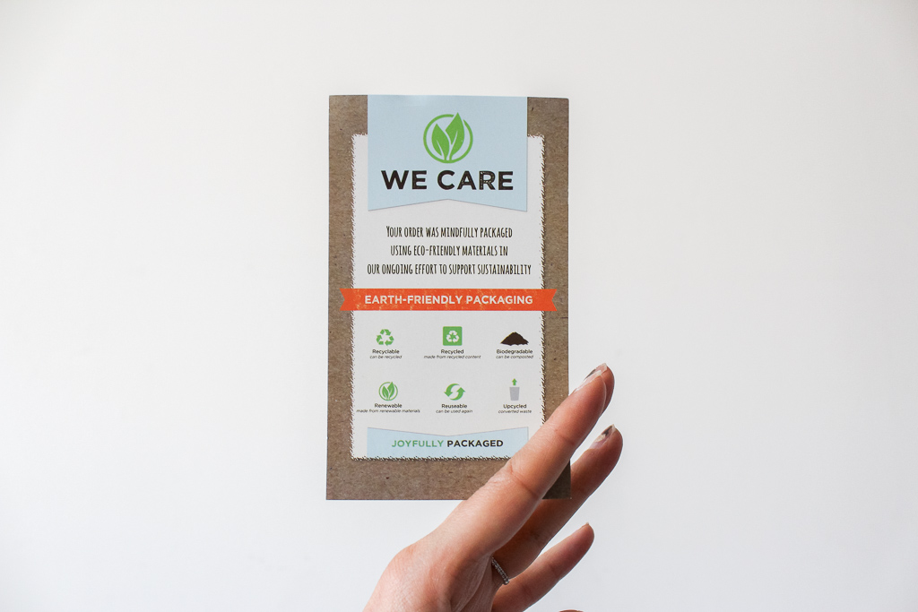 We Care Packaging Note