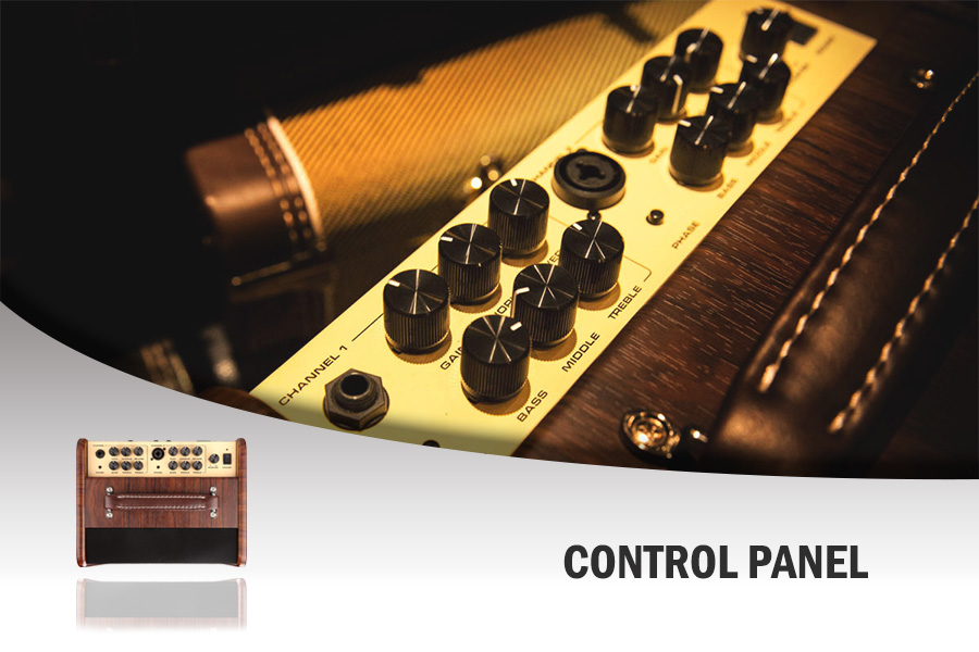NUX Stageman AC-50 Features a compact, living room friendly foot print with attractive wood veneer.