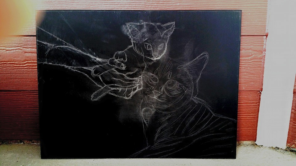2. Follow what I see and draw on black canvas using white color pencil as based outline of the objects.