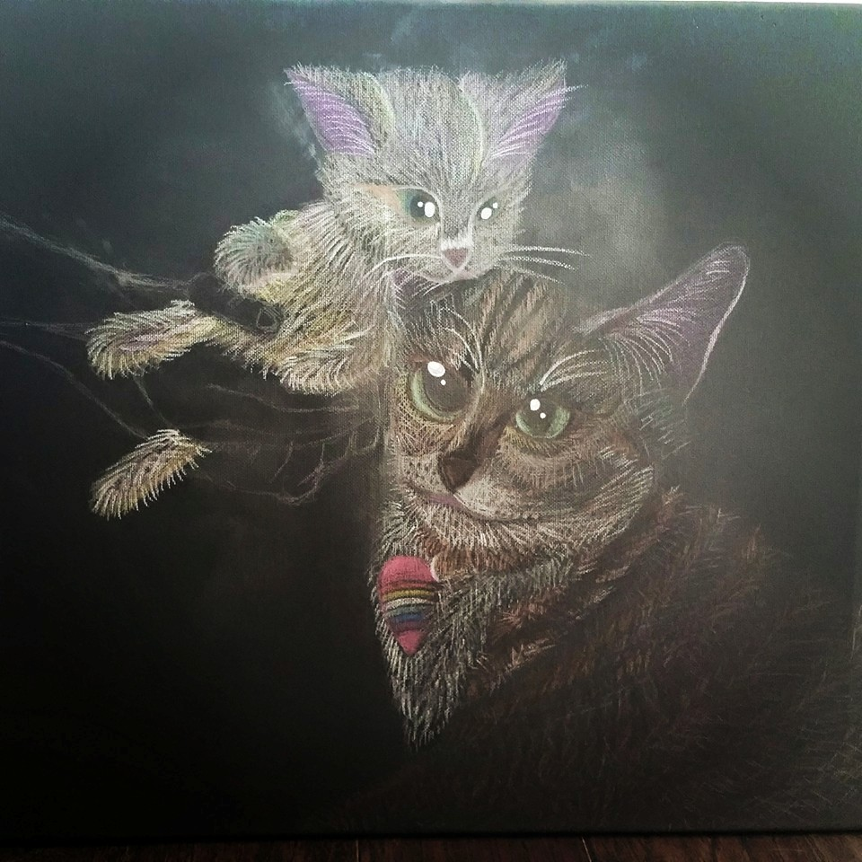 7. One cat is done, draw another, and starts with the eye since that is the most important emotional effects that drawn people in,