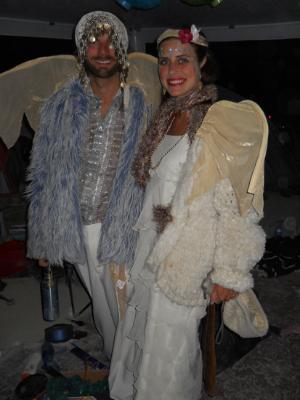 My friend Lance and me as Vestal Virgins, Burning Man 2011