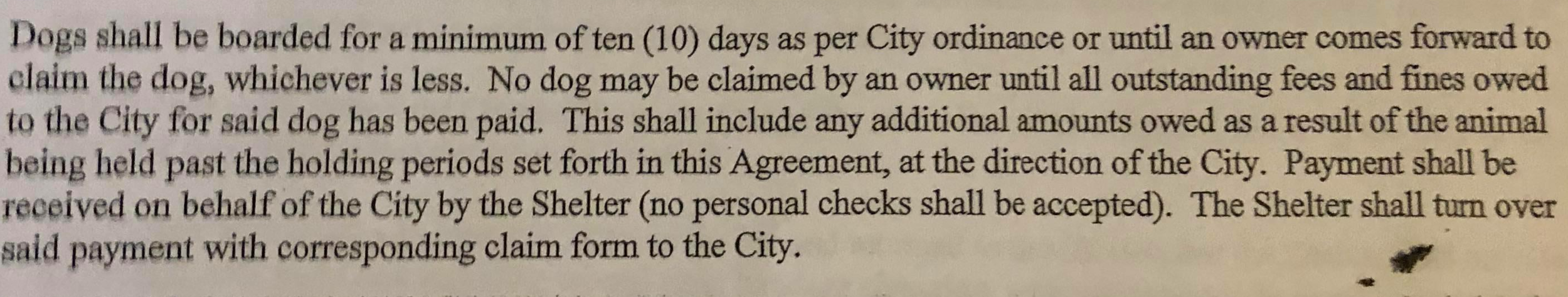 City contract with Forever Paws