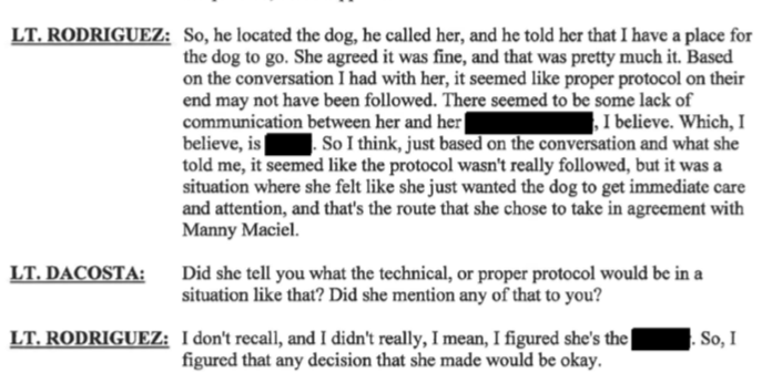"New Bedford Public Information Officer Nathaniel Rodriguez confirms here that Maciel found dog and immediately ""has a place for the dog to go"" . Forever Paws is making executive decisions on a dog they didn't legally have possession of until April 28th. Forever Paws according to Rodriguez on April 4th approved Linda Morad to ""foster Jackie"" ."