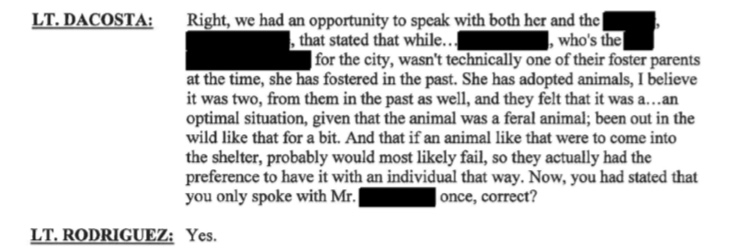 "New Bedford Public Information Officer Nathaniel Rodriguez states because Linda Morad was a foster in the ""past"" they can still consider her a foster thus leaving that Facebook post up to this date. Maciel states in prior interview that Jackie was at New Bedford Animal Control Office from 4/4-4/14 inside a kennel."