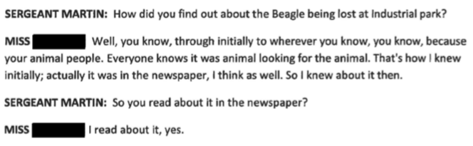 "Forever Paws President Gail Furtado claims she first read about the beagle situation in a ""newspaper"""