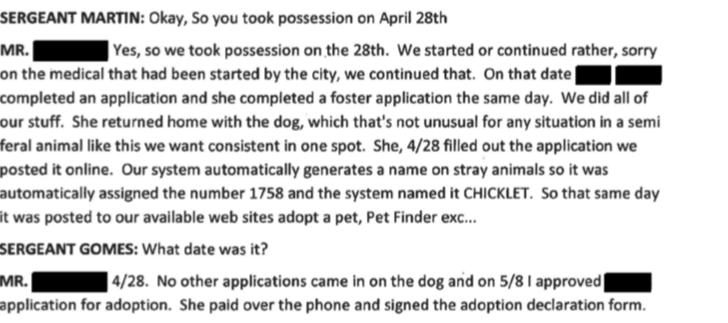 Despite overwhelming inquires on the dog on April 17th. Forever Paws Director Casey Fredette now claims Jackie only received 1 adoption application and that was from City Council President Linda Morad