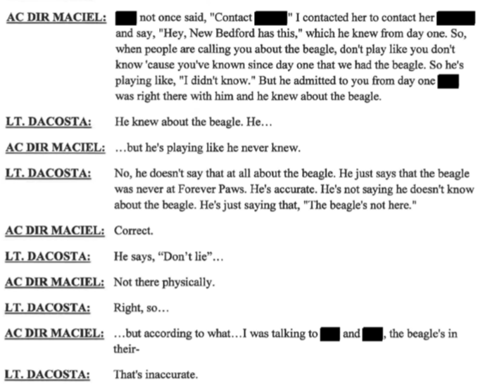"New Beford ACO Maciel states Casey Fredette knew all along dog was with Forever Paws ""just not physically """