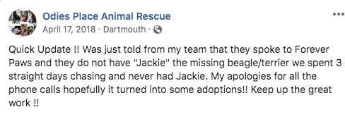 After 13 days of getting zero confirmation on where Jackie is and after speaking to someone associated with Forever Paws we made this post.