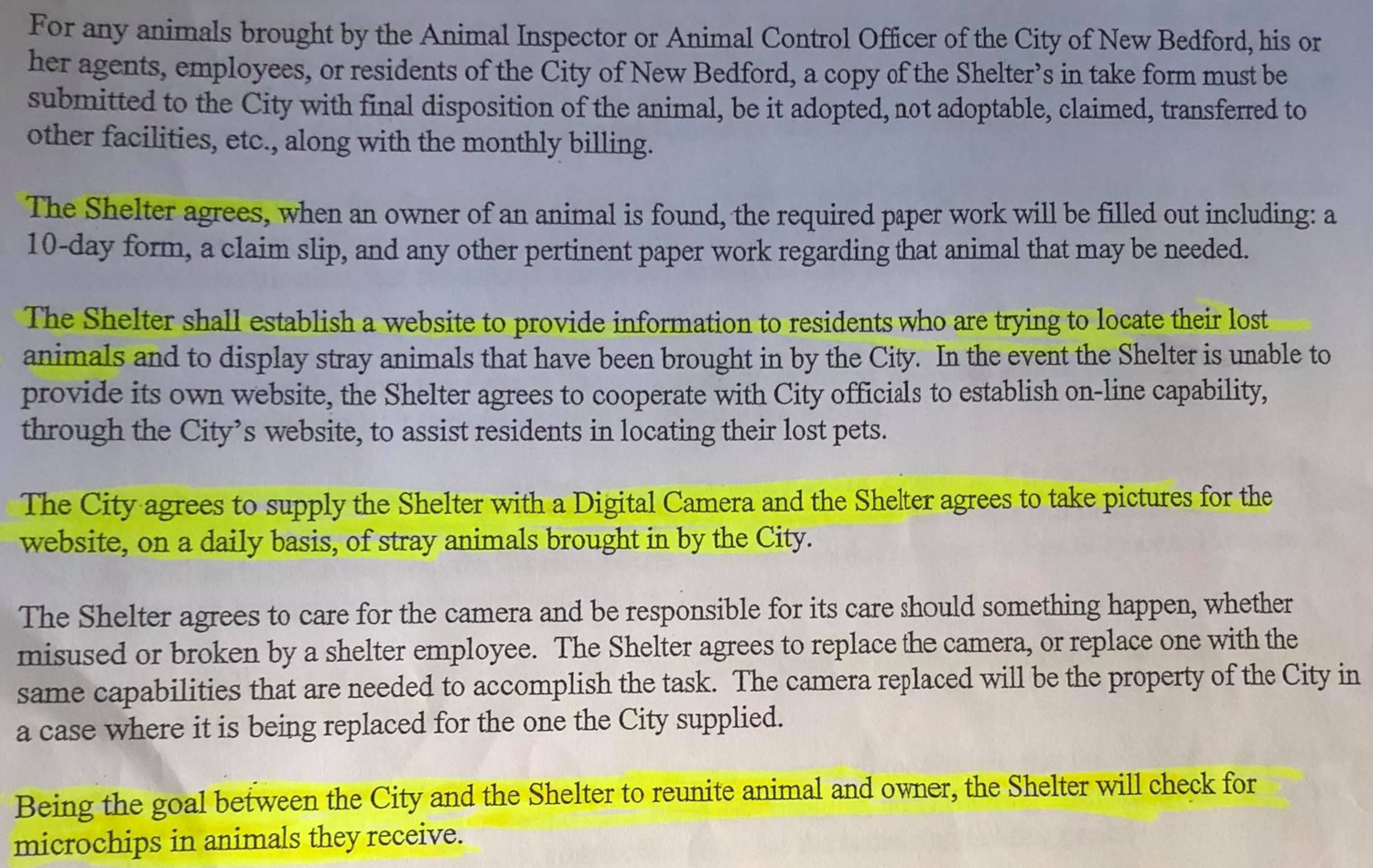 Pay close attention to the city's contract with Forever Paws Animal Shelter.