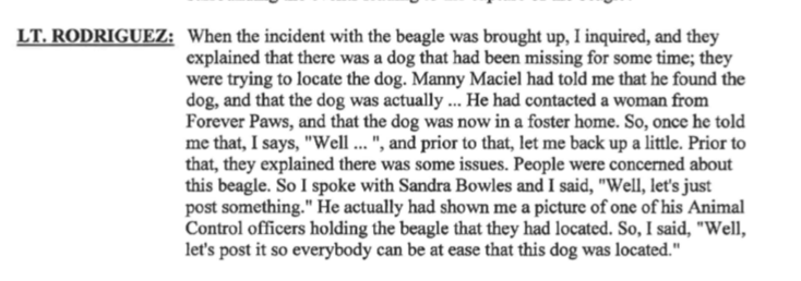 New Bedford Police Public Of Information LT Rodriguez admits in Internal Affairs Case #1941 never contacts Forever Paws amid all the social media chatter that they were not involved.