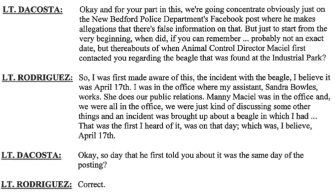 New Bedford Police Public Of Information LT Rodriguez admits in Internal Affairs Case #1941 admits first time he heard about Jackie was April 17th 13 days after she was captured. Three days past the city law 10 day stray hold.