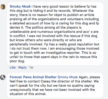April 22nd two days after New Bedford Police facebook post Forever Paws still denying having anything to do with dog.