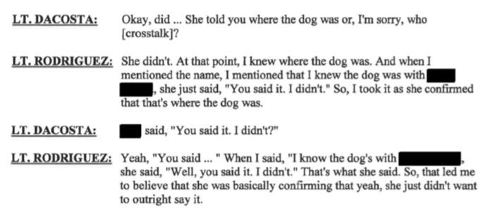 New Bedford Police Public Of Information LT Rodriguez admits in Internal Affairs Case #1941 admits when he brought up Linda Morad's name to Gail Furtado she wouldnt admit that Morad had the dog.