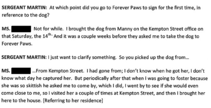 "City Councilor President Linda Morad Tells New Bedford Police Internal Affairs Case #1941 admits that someone else's dog who's owners have not been even looked for was in her private residence for ""awhile"" before bringing dog to Forever Paws like contract states."