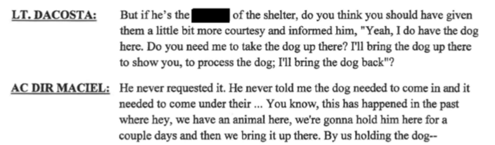 "ACO Director claims it was because the shelter never ""requested the dog """