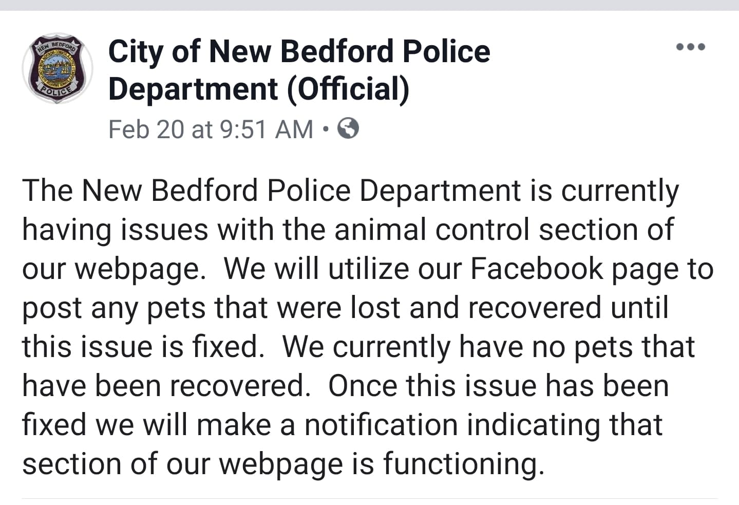 February of 2019 after this investigation was first time the city ever acknowledge posting any animals ever.