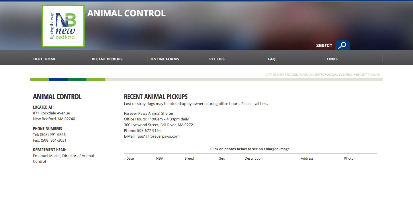 Up until early 2019 this is what the animal control pickup page looked like.