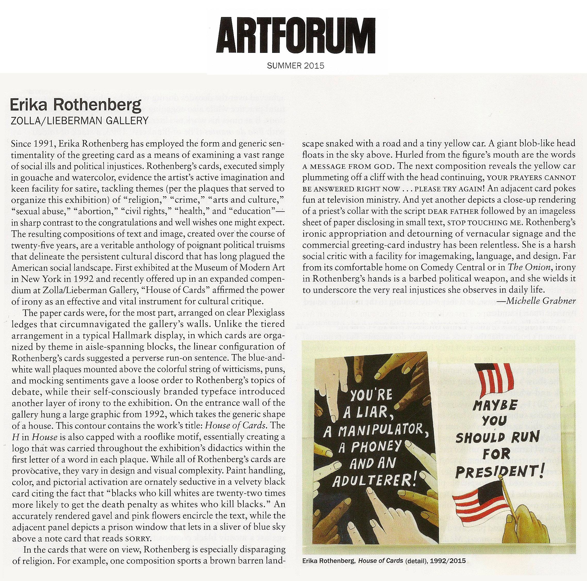 Artforum Summer 2015 Erika Rothenberg Review by Michelle Grabner
