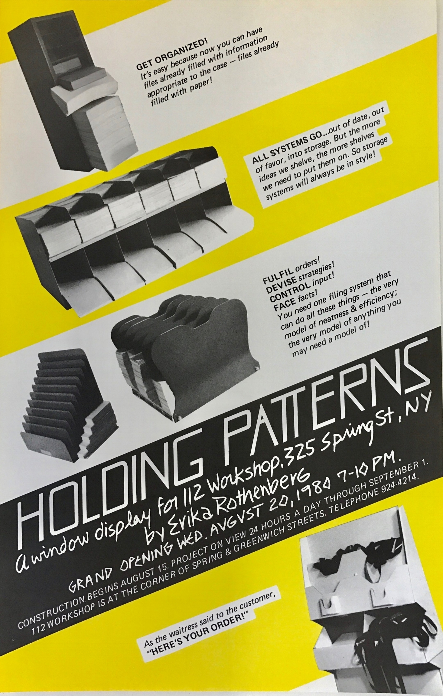 Flier for Holding Patterns 1980 installation at 112 Greene St (now called White Columns)