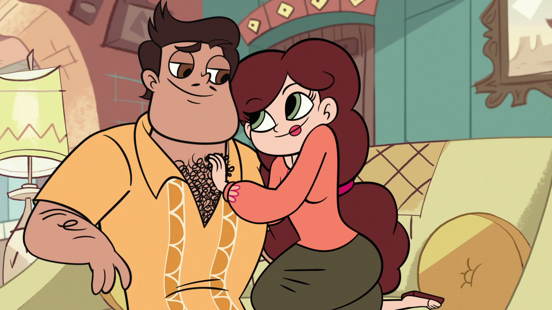 S1E9_Mr._and_Mrs._Diaz_flirting_with_each_other.png