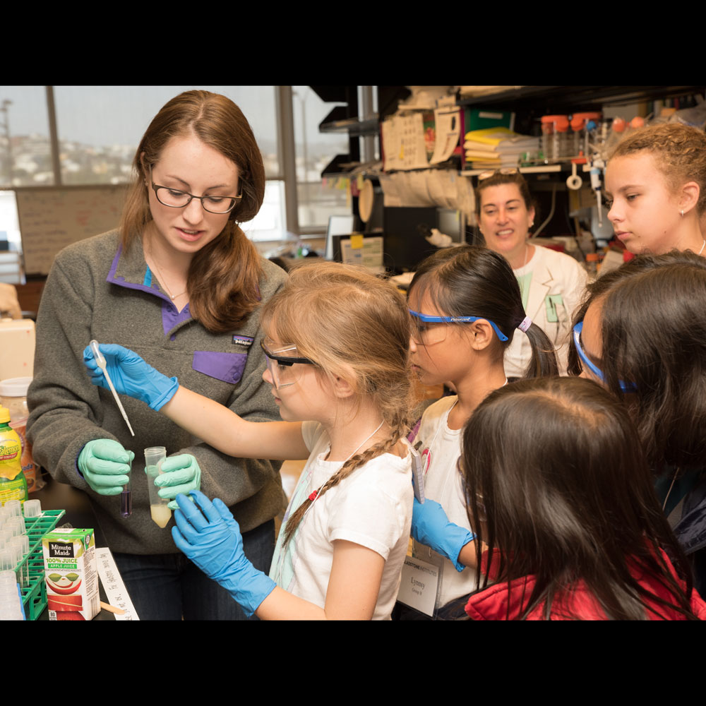 Victoria teaching kids about acids, bases, and pH at Gladstone's Take Your Kids to Work Day 2015!