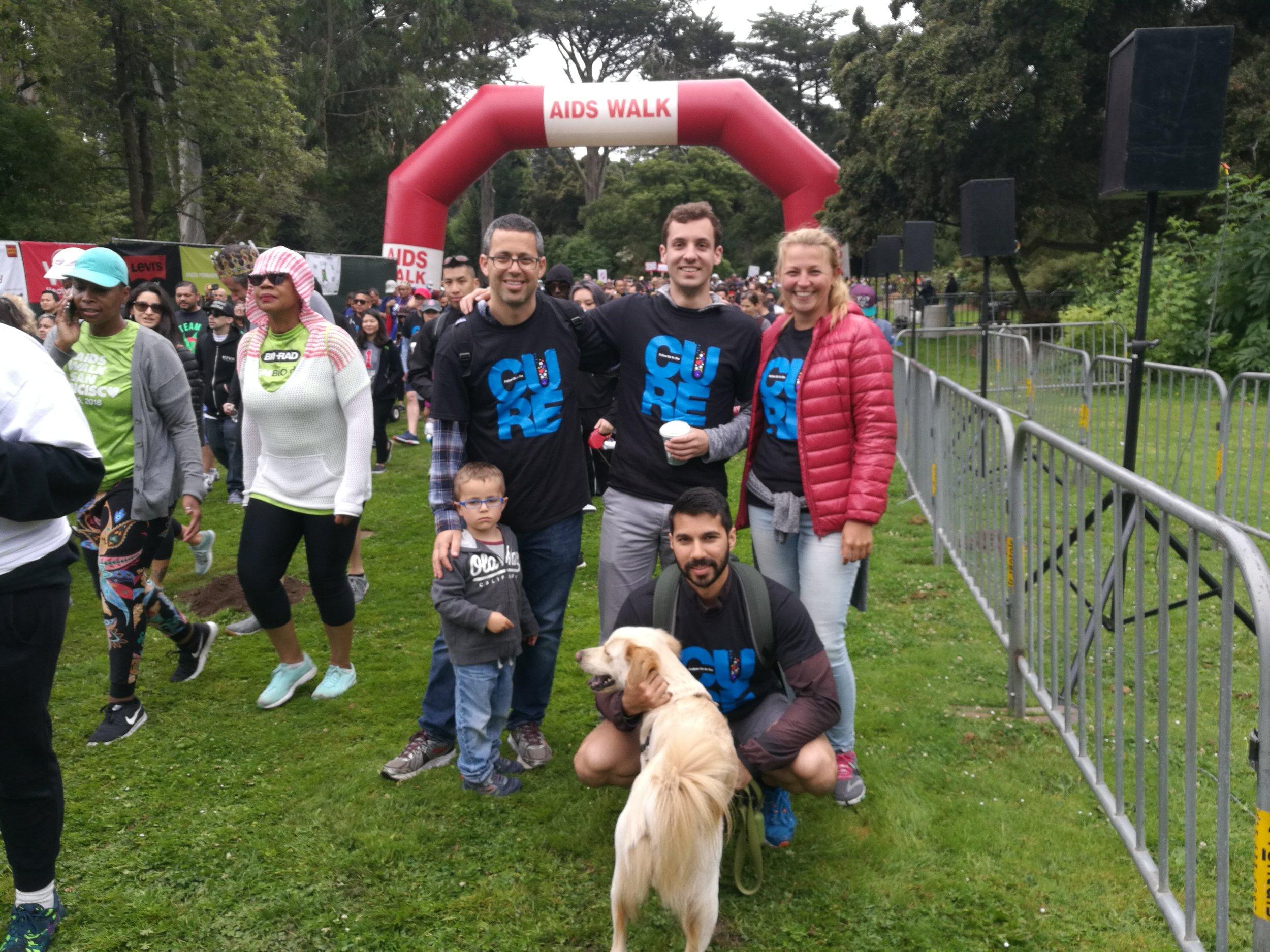 Noam, Alon, Josh, Ravi and Maike, warming up for Gladstone's 2018 AIDS walk