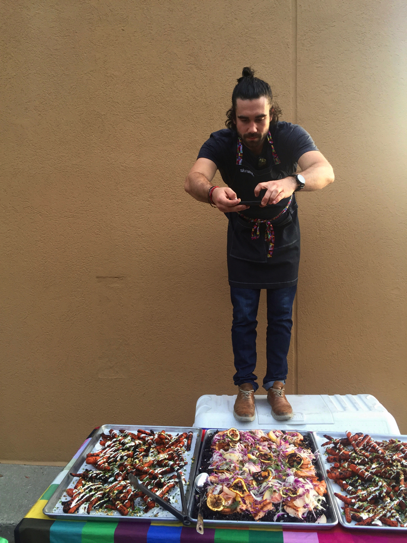 Chef Gabe captures the 'grams of his delicious spread in a parking lot at Ride on Atlanta.