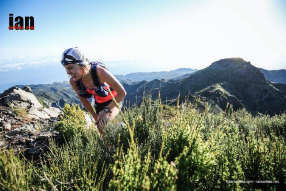 Typical smiles on the face of Hillary Allen, running her way to 2nd place at Ultra Skymarathon Madeira.