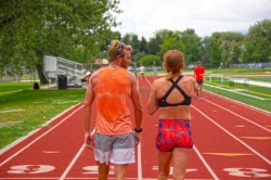 Tyler and his wife at a track workout.