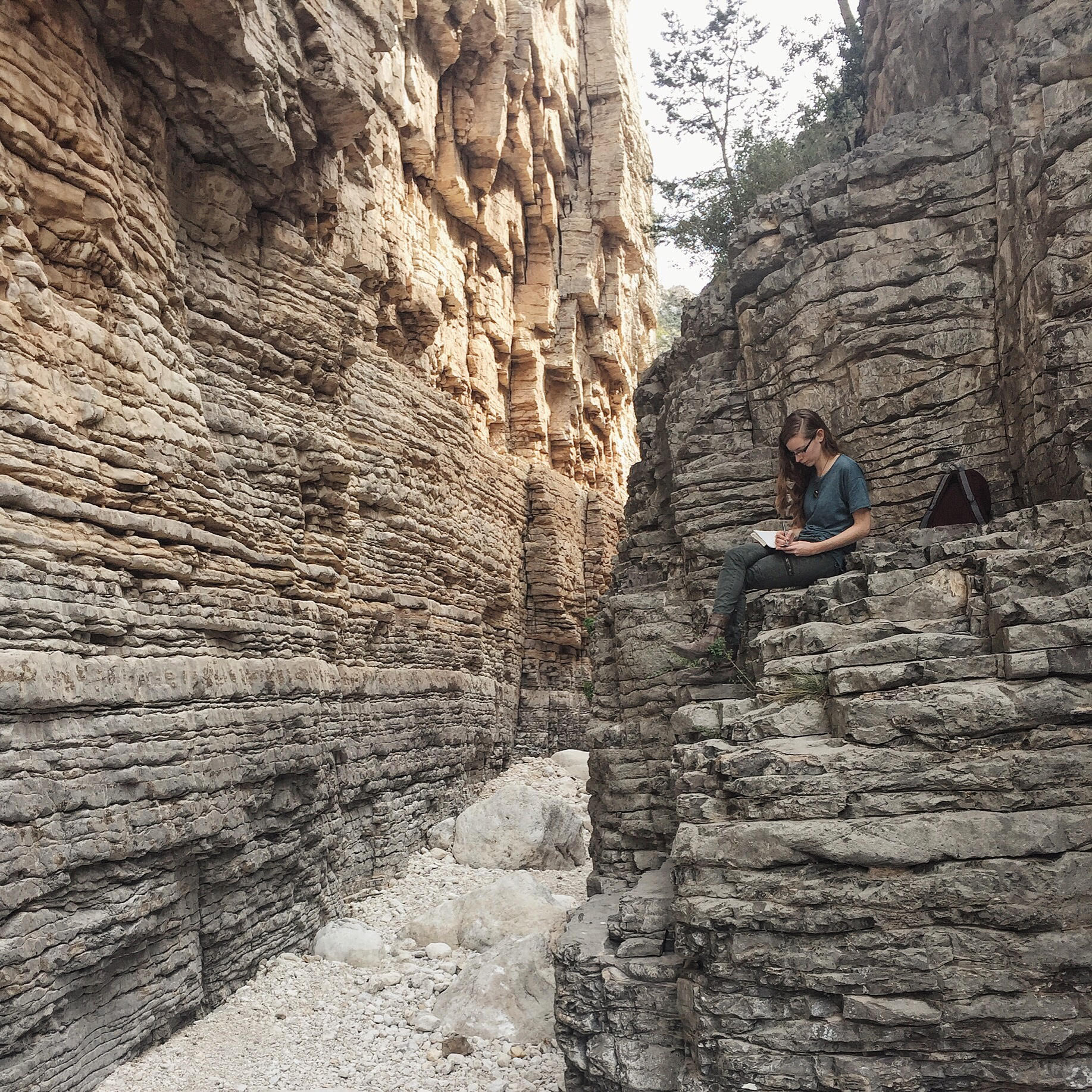 Journaling along the Devil's Hall Trail at Guadalupe Mountains National Park