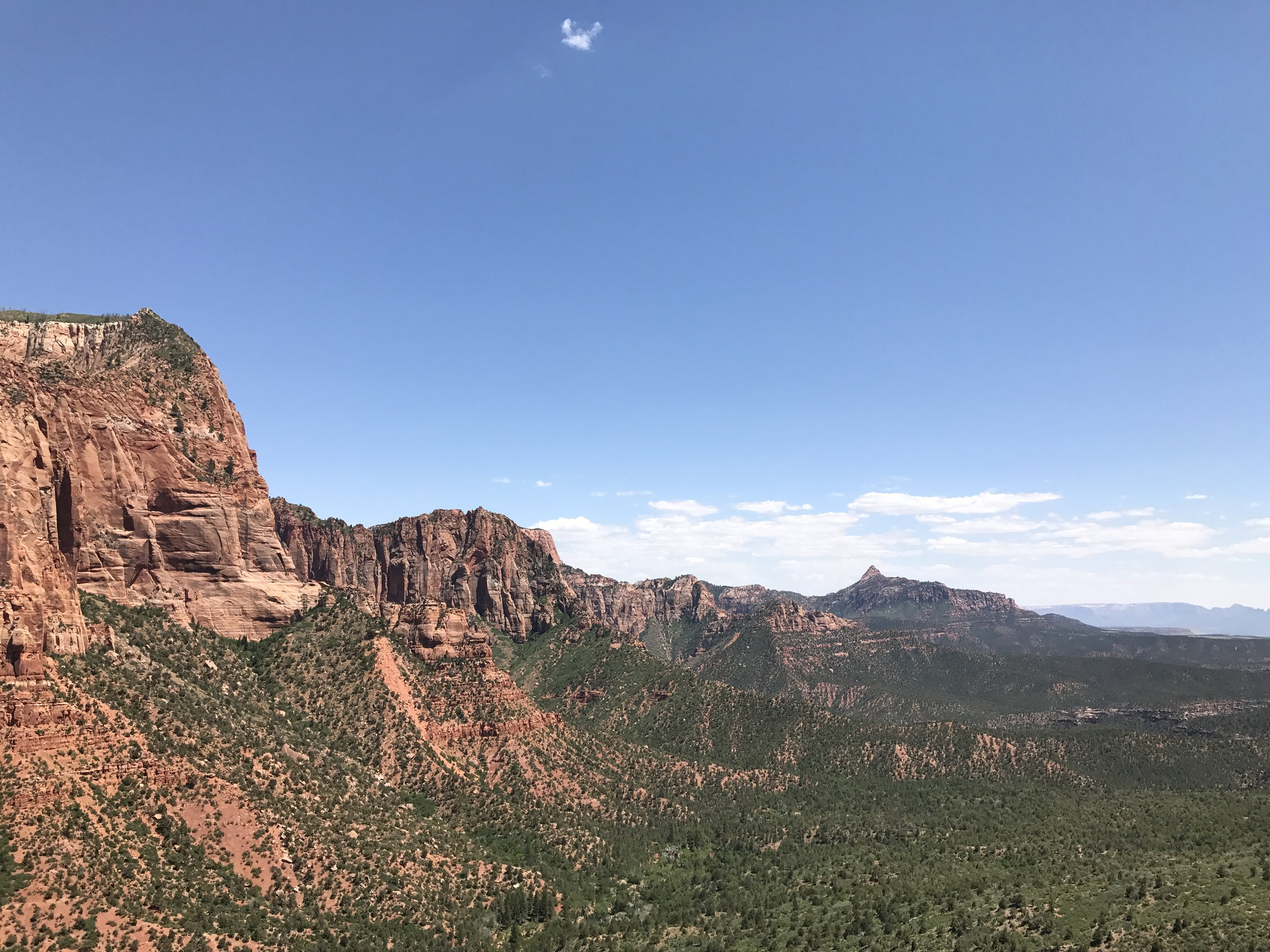 Looking out toward Zion Canyon and beyond, from the Timber Creek Overlook Trail
