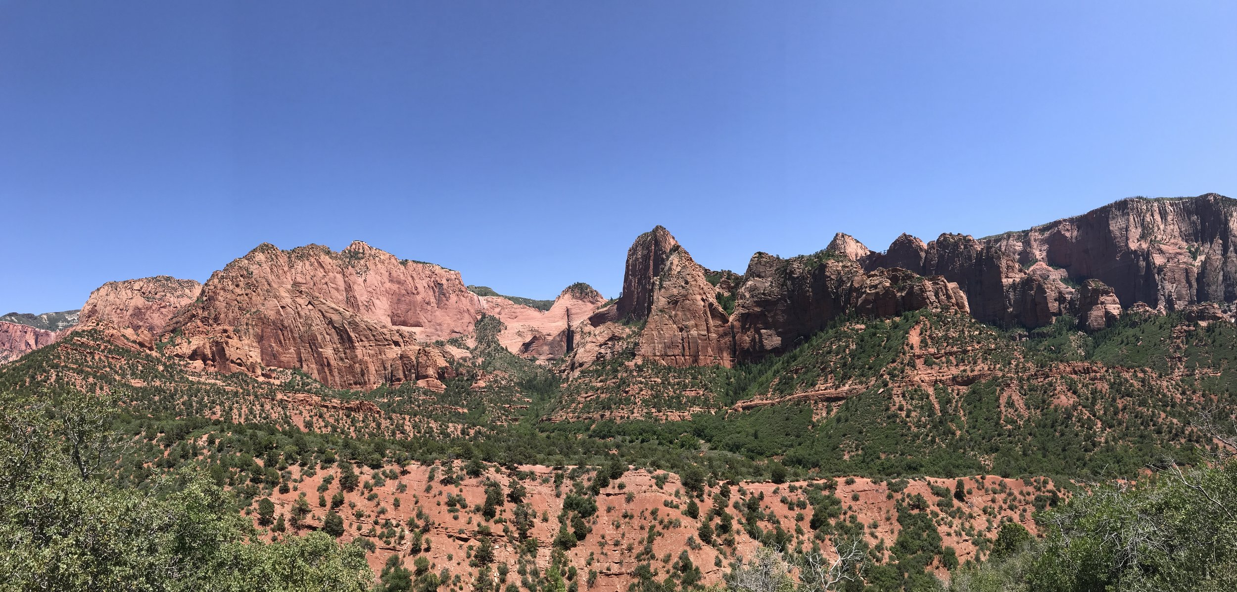 Panorama of the stunning red cliffs in the Kolob Canyons area of Zion National Park