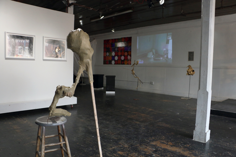 L to R: Stephanie Dowda,  We are the Lightning , 2013; Andrew Boatright,  Untitled , 2014; morgan alexander,  where have they gone? where are we going? (charred) , 2014; Ian Cone,  Heliocentric Revolution #1-42 , 2014; Andrew Boatright,  Candle in the Wind , 2014; Nikita Gale,  Disco Clouds , 2013; Andrew Boatright,  Shroud , 2013; Corkey Sinks,  Reformed Sacred Geometry (Solar Heresies edition) , 2014