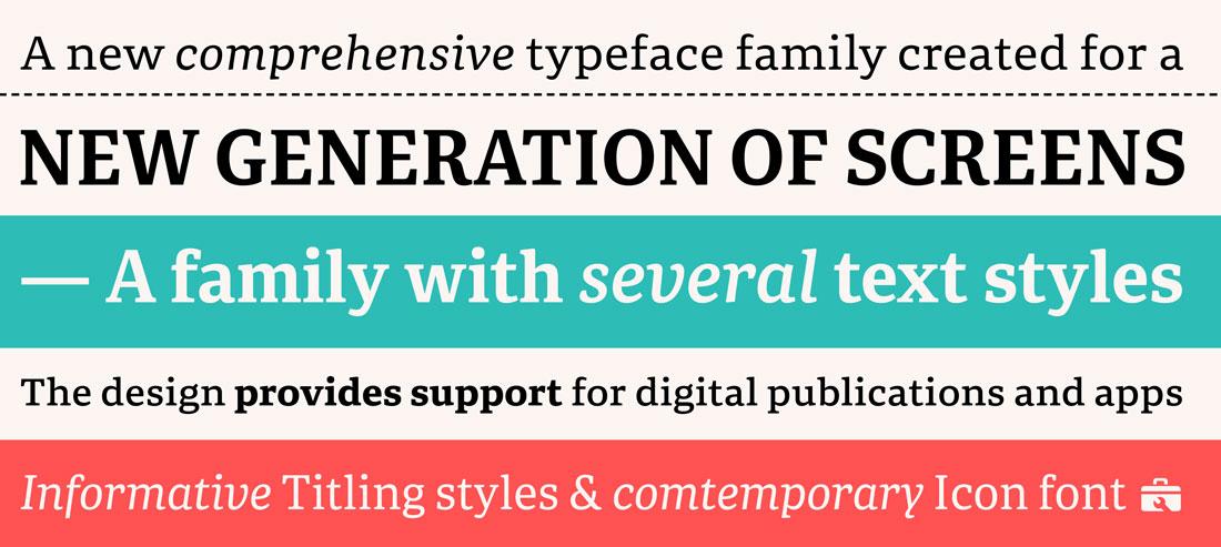 Typeface samples of Portada