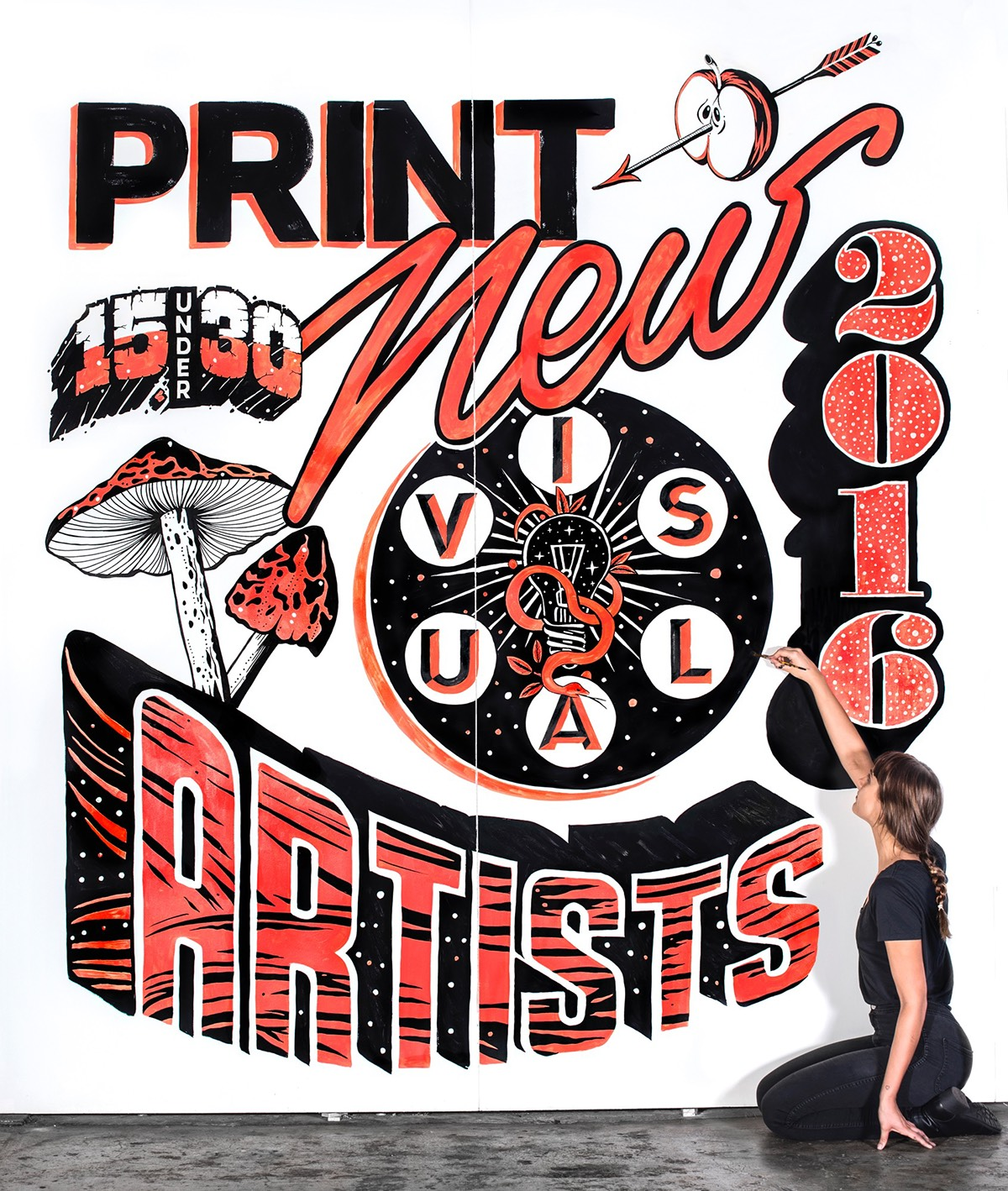 Art by Gemma O'Brien that reads Print New Visuals 15 Under 30 Artists 2016