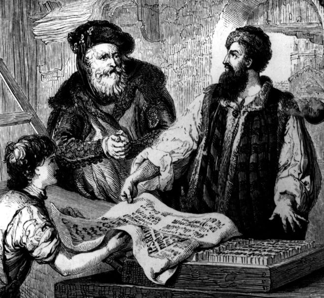 drawing of three men working on ancient printing press